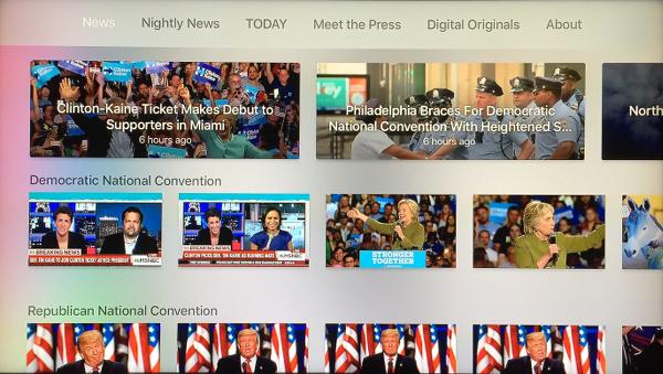 NBC News Main Screen