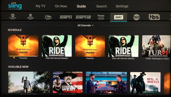 Sling TV Guide Screen