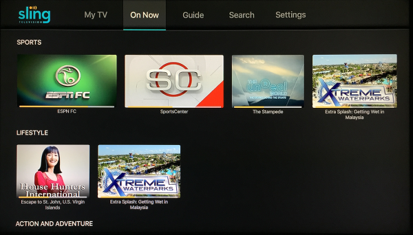 Sling TV On Now Screen