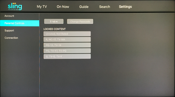 Sling TV Settings Screen