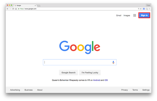 Click Sign in to Create New Google Account