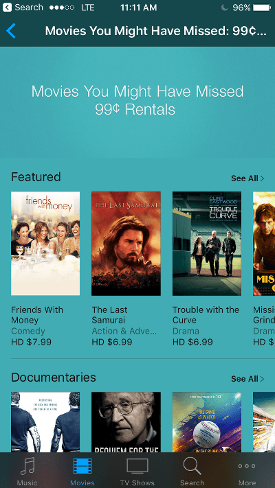 iTunes Movies You May Have Missed 99 Cent Rentals