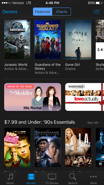 Rent iTunes Movies for 99 Cents