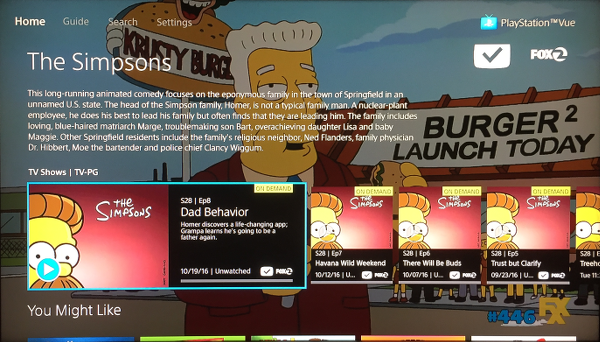 PlayStation Vue My Shows Detail Screen