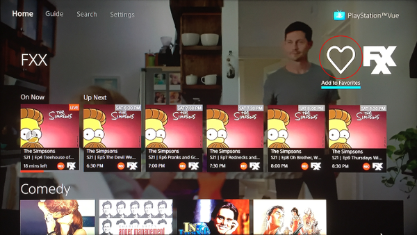 PlayStation Vue Remove Channel from Favorites