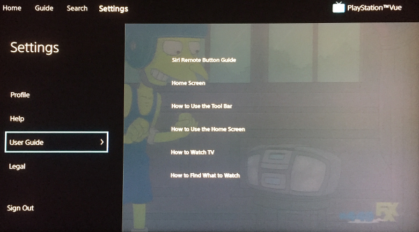PlayStation Vue Settings