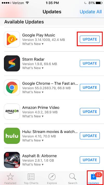Update Google Play Music App