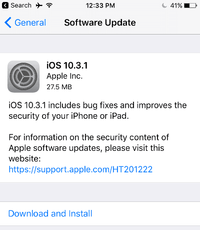 iphone update download and install not working