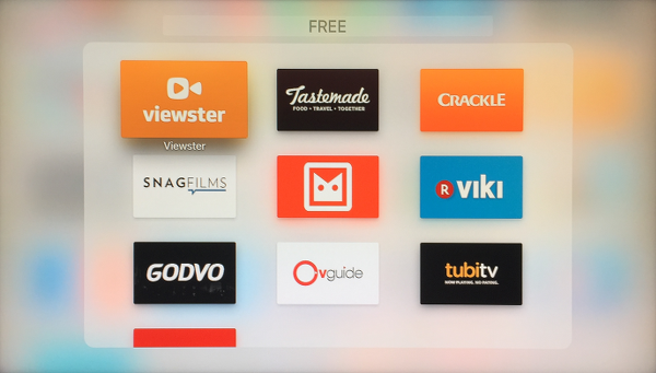 Folder View of Free TV Show and Movie Apple TV Apps