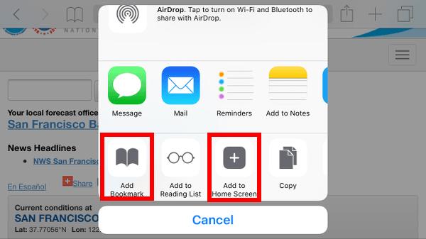 Add Weather.gov Bookmark or Home Screen Icon