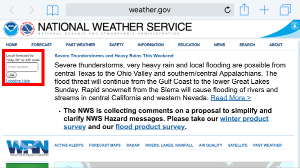Enter Zipcode for Local Weather Forecast