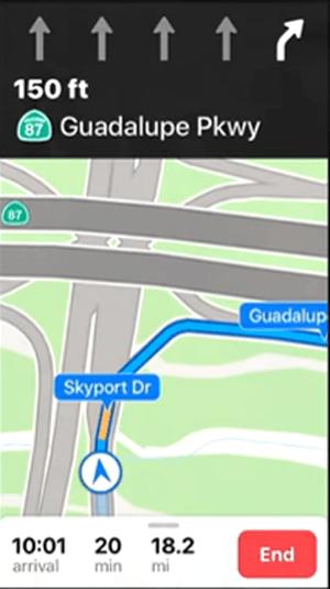 iOS 11 Maps Lane Guidance