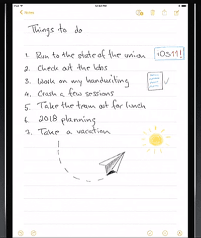 iOS 11 Notes Apple Pencil