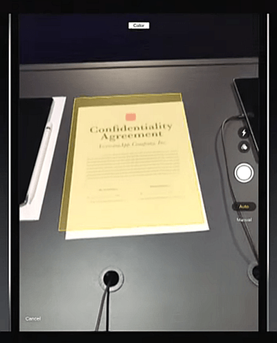 iOS 11 Notes Document Scanner