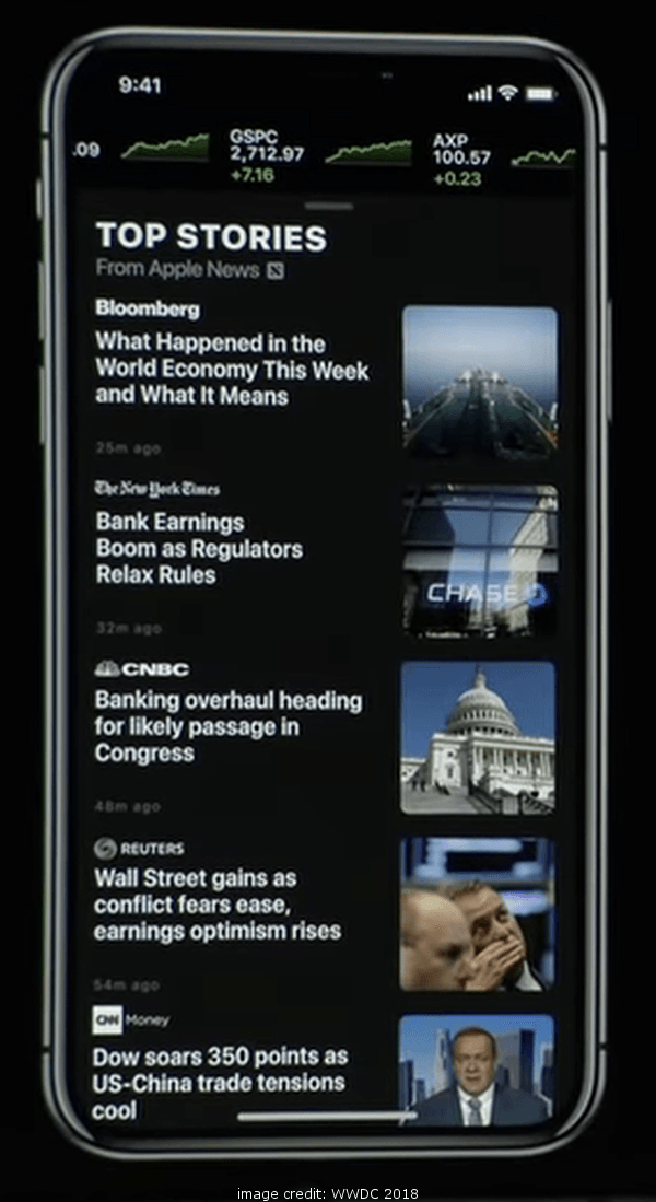 iOS 12 Stocks App