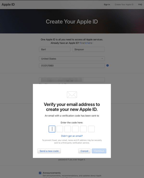 Verify Email to Create Apple ID