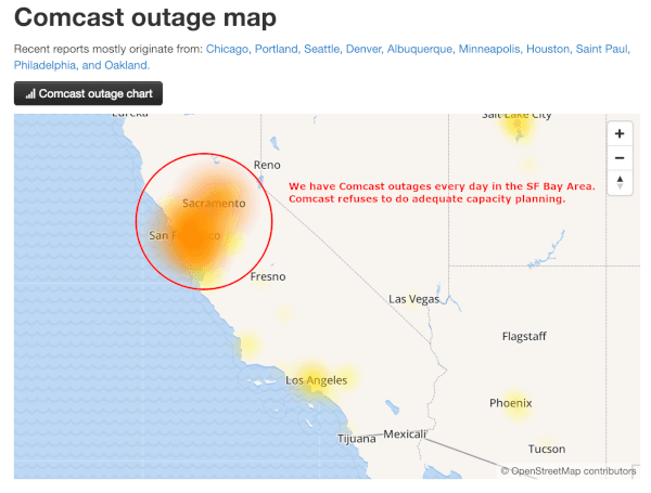 Comcast SF Bay Area Outage Map