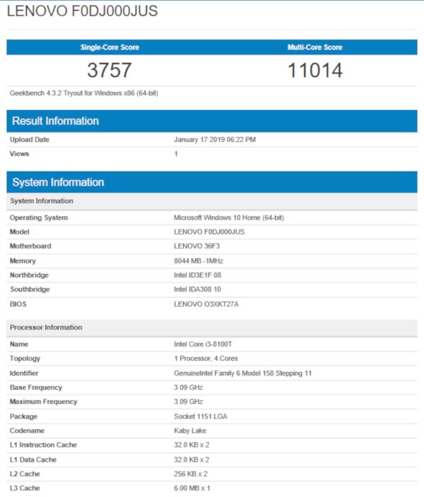 Lenovo IdeaCentre Geekbench 4 Results