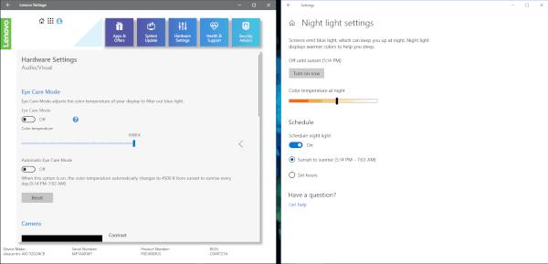 Lenovo vs. Windows 10 Settings