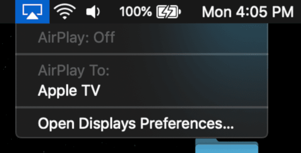 macOS AirPlay Menu Bar