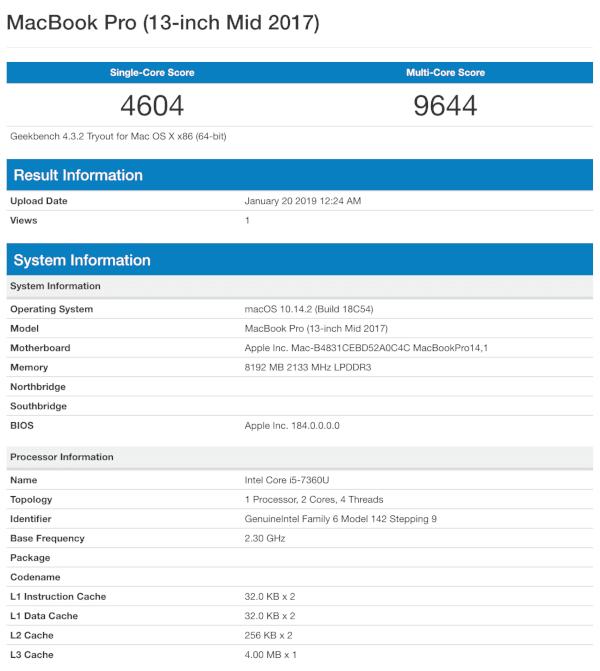 MacBook Pro Geekbench 4 Results