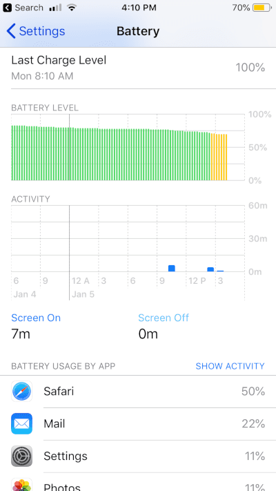 iOS 12 Battery Usage Report