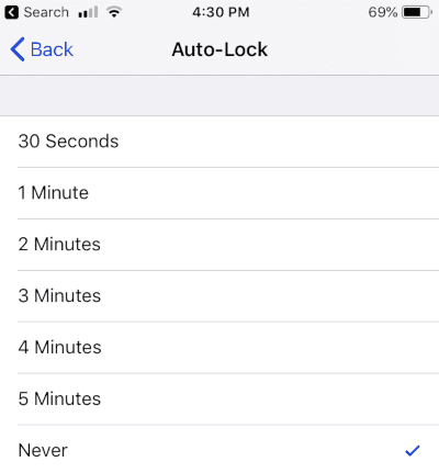 iPhone Auto-Lock Setting