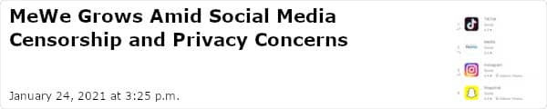 MeWe Grows Amid Social Media Censorship and Privacy Concerns - January 24, 2021 at 3:25 p.m.