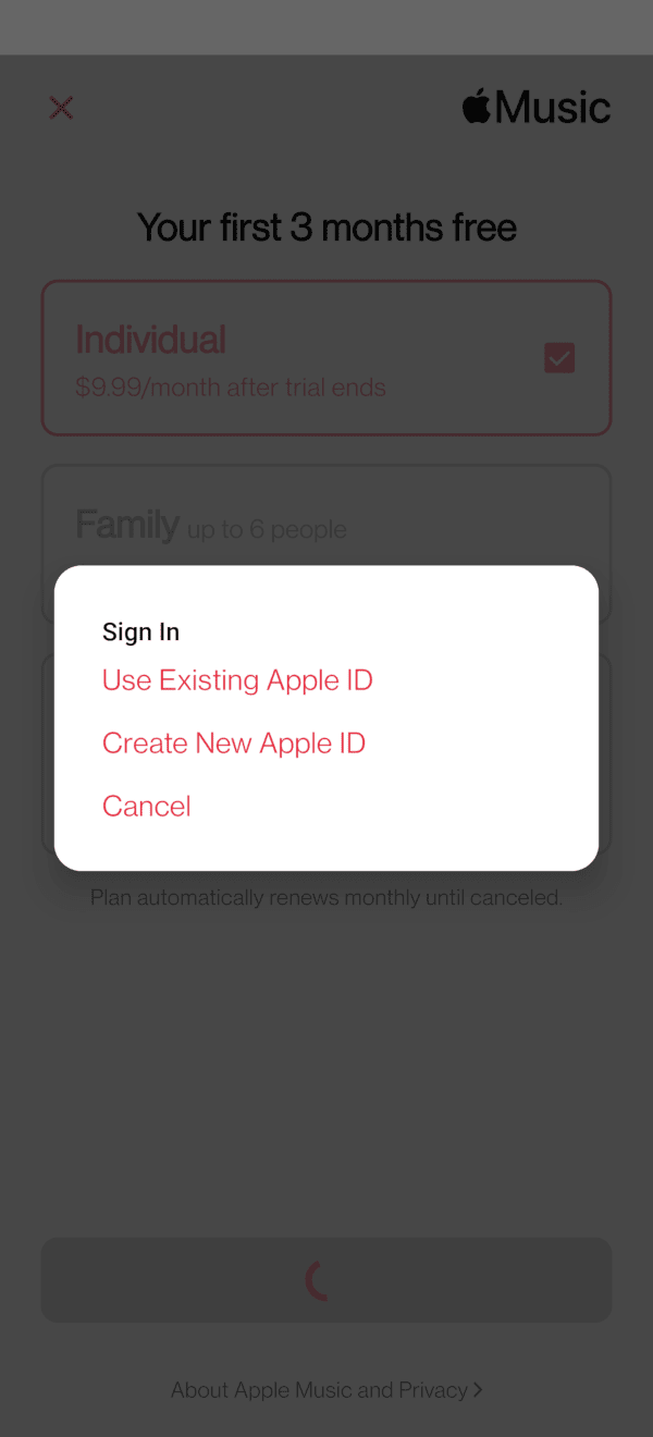 Create Apple ID or Use Existing One