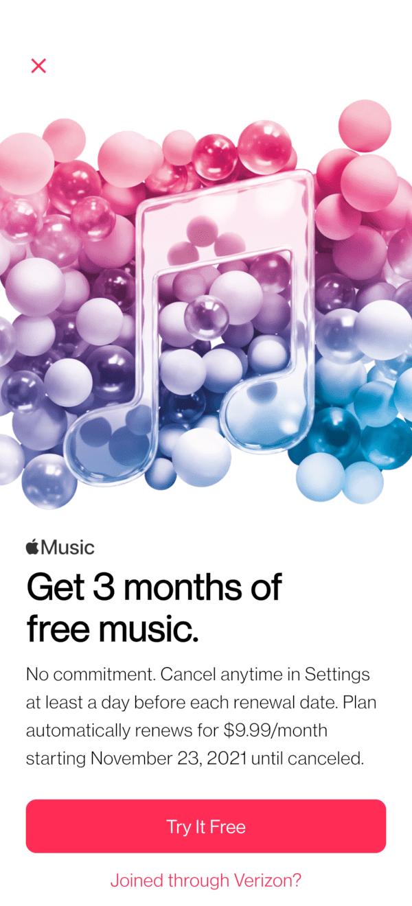 Apple Music Three Month Free Trial