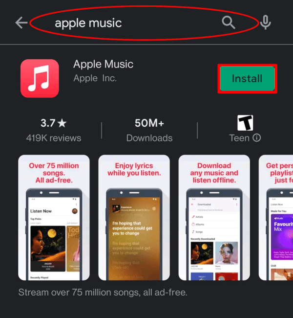 Tap Install to install Apple Music for Android