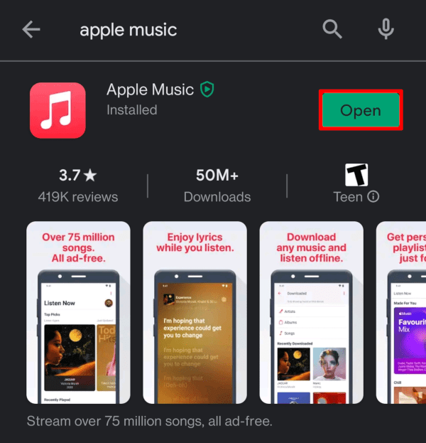 Tap Open to launch Apple Music